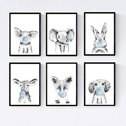 Nacnic Set 6 Posters Animales Bebes con Chicle. Cerdo Elefante Conejo Vaca Zorro Perro.Tamaño A4