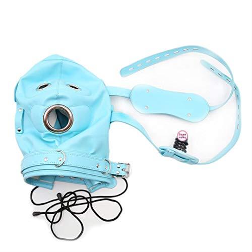Face Mask Ball Gag Hoofddeksels Kostuum Sexy Toy PU Soft Lekker Lightweight Adjustable voor Vrouw Man,Blue,10 cm dildo