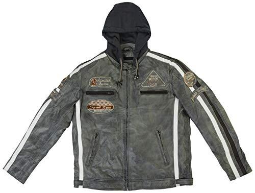 Chaqueta Moto Hombre en Cuero Urban Leather '58 GENTS' | Chaqueta Cuero Hombre | Cazadora de Moto de Piel de Cordero | Armadura Removible para Espalda, Hombros y Codos Aprobada CE |Gris Claro