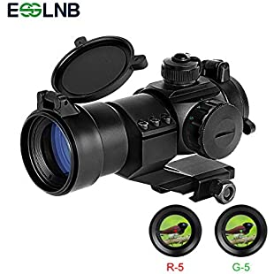 ESSLNB Airsoft Red Dot Sight Scope 5 Brightness Settings Rifle Scope with 20mm/22mm Weaver/Picatinny Rail Mount and Flip-Up Covers for Hunting