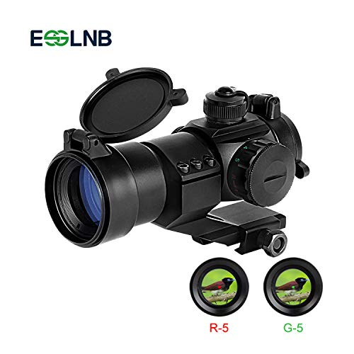 ESSLNB Red Dot Sight 5 Brightness Settings Rifle Scope with 20mm/22mm Weaver/Picatinny Rail Mount and Flip-Up Covers for Hunting