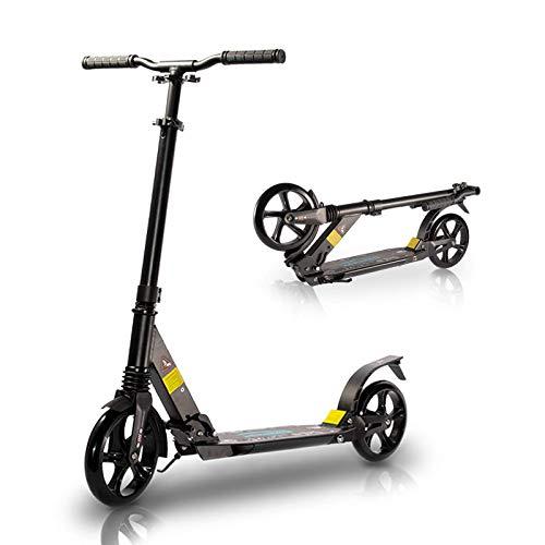 TENBOOM Roller Erwachsene, Großes Rad Scooter Roller 8 Jahre, Klappbar Cityroller mit hintere Bremsen und Tragegurt, Zwei Stoßdämpfer