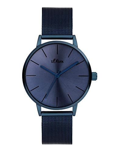 s.Oliver Damen Analog Quarz Uhr mit Edelstahl Armband SO-3974-MQ