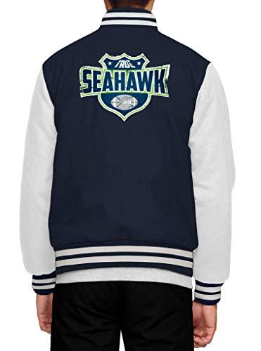 Shirt Happenz Seahawks Any Given Sunday True Hawks Seattle American Football Premium Collegejacke Herren Jacke Baseballjacke, Größe:S, Farbe:Dunkelblau Weiß JH043
