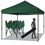 MEWAY 10ft Patio Awning Garden Shade Commercial Ez Pop Up Canopy Tent Instant Canopy Party Tent Sun Shelter with Wheeled Bag,Flea Market Tent (Green)