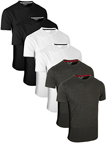 Full Time Sports FULL TIME SPORTS 6 Pack Kohle Weiß Schwarz Rundhals Tech T-Shirts (2) XX-Large