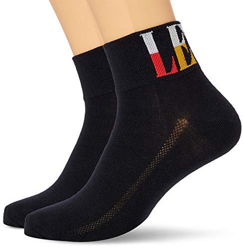 Levi's Unisex-Adult Split Tall Logo Mid Cut Socks (2 Pack) SNEAKER, Black, 39/42 (2er Pack)