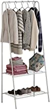 House of Quirk Storage Shelves Wrought Iron Coat Rack Floor Hanger Sleek Minimalist Creative Clothes Rack Bedroom Hanger Rack (White)