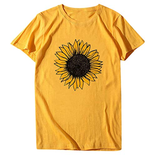 Amazing Deal Rmeioel Women's Sunflower Tshirt Print Short Sleeve Tops Round Neck Plus Size Shirt T-S...