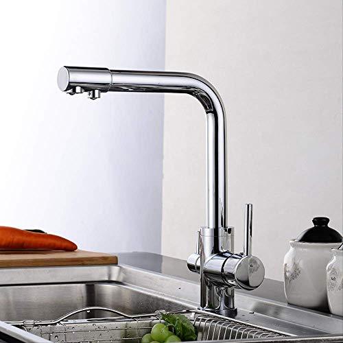 Cocina sencilla caliente y fría Electrochapado,Grifo de Lavabo para Baño Grifo Monomando Grifo de Cuenca Cromado Agua Fria y Caliente