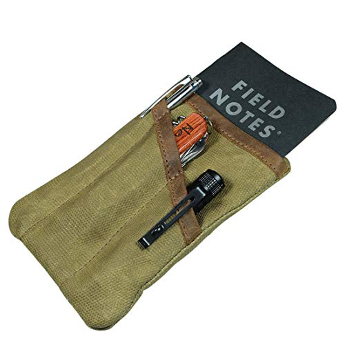 Hide & Drink, Waxed Canvas Multitool Pocket Pouch, Compact Multipurpose Zippered Bag, Mini Camping Tool Case, Organizer, Travel & Commuter Essentials, Handmade Includes 101 Year Warranty :: Fatigue