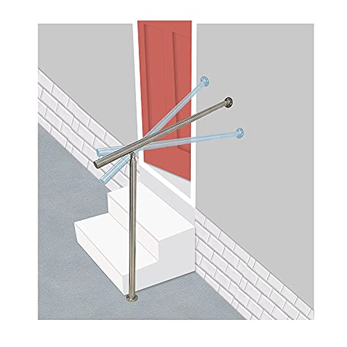 Handrails for Outdoor Steps Stair Railing for Concrete Steps Porch Stair Railing Kit Metal Staircase Hand Rails Stainless Steel Handrail for Indoor Stairs, Cement Steps, FrontStep 31.5x35.5(Sliver)