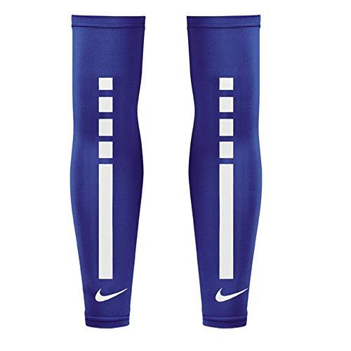 Nike - Par de manguitos cubre brazos Elite UV Sleeves Basket Ciclismo Mangas (L/XL, Azul-Blanco)