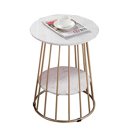 WYDM Table d'appoint en marbre à 2 couches Table basse ronde Art de fer Table de chevet dorée 47 * 62CM