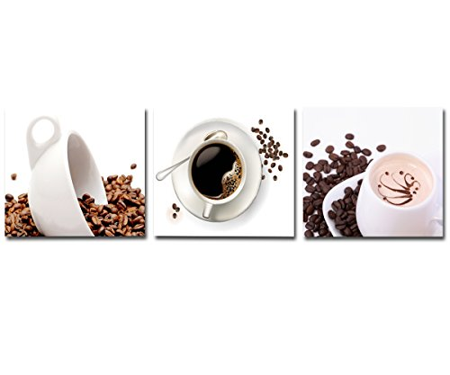 Oil Painting Modern Art Large Canvas Wall Art 3 Piece Canvas Art Unstretch and No Frame with Coffee and coffee beans