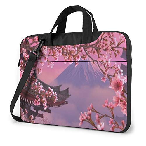 Mount Fuji Cherry Blossom Laptop Shoulder Case Sleeve, 15.6 Inch Multi-Functional Notebook Sleeve Carrying Case with Strap & Trolley Belt for Lenovo Acer Dell Lenovo Hp Samsung Ultrabook Chromebook