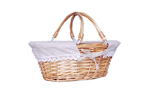 Oypeip Wicker Basket Gift Baskets Empty Oval Willow Woven Picnic Basket Cheap Easter Candy Basket Storage Basket Wine Basket with Handle Egg Gathering Wedding Basket (Nature)