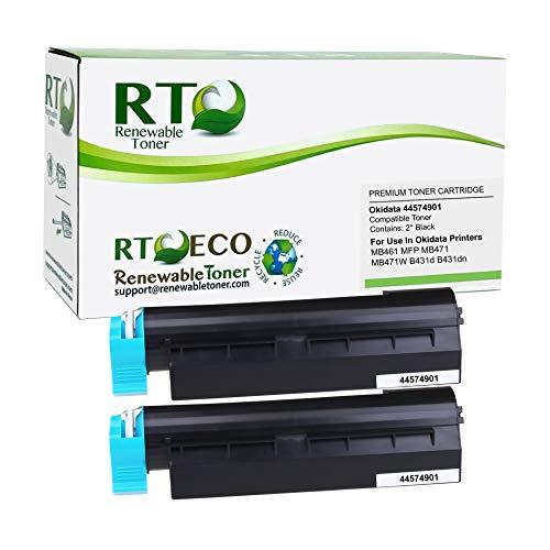 Renewable Toner Compatible Toner Cartridge Replacement for Okidata 44574901 Oki B431 MB461 MB471 MB491 (Black, 2-Pack)