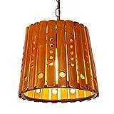 miwaimao, lampadario rustico, ovale, in legno, con gabbia in rete, per lampadario da cucina