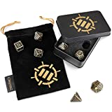 ENHANCE DND Metal Dice Set - 7pc Solid Zinc Alloy Polyhedral DND Dice with Metal Storage Case and Drawstring Dice Bag Included - RPG Dice for Dungeons and Dragons, Pathfinder, & More (Ancient Bronze)