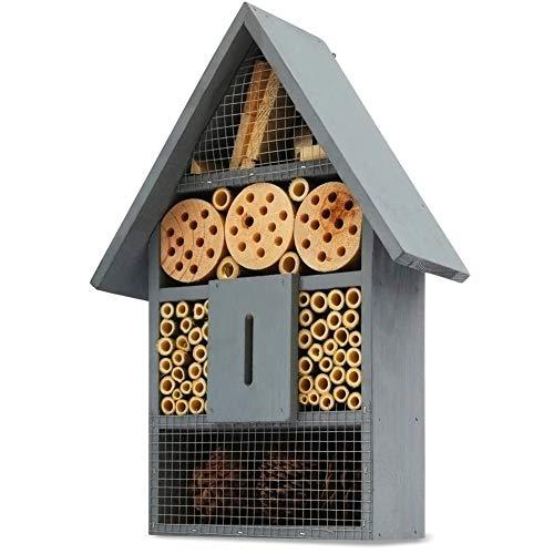 Ruiuzi Insektenhotel, aus Natürlichen Materialien, Bienenhaus Marienkäferhaus Schmetterlingshaus, für Verschiedene Fluginsekten, Naturbelassenes Insektenhaus (Blue)