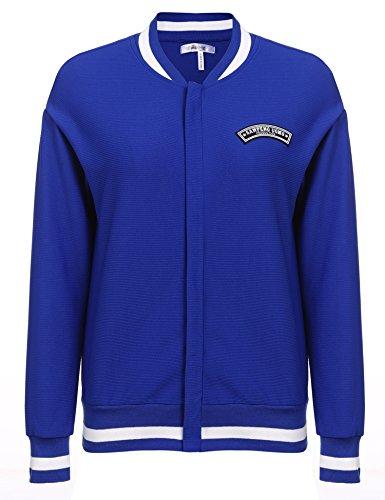 Beyove Damen Hoodie Einfarbig Kapuzenpullover Sweatshirt-Jacke Frauen Kapuzen-Jacke Langarm Herbst und Winter (A-Blau, EU 42(Herstellergröße: XL))