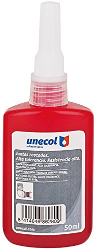Unecol 8628 Adhesivo anaeróbico 1277 para juntas roscadas (botella, industrial), Rojo, 50 ml