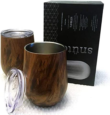 Sn te Double wall Stainless Steel Whiskey Glasses Stemless Whiskey Nosing Glass Pack of 2 Tumbler product image