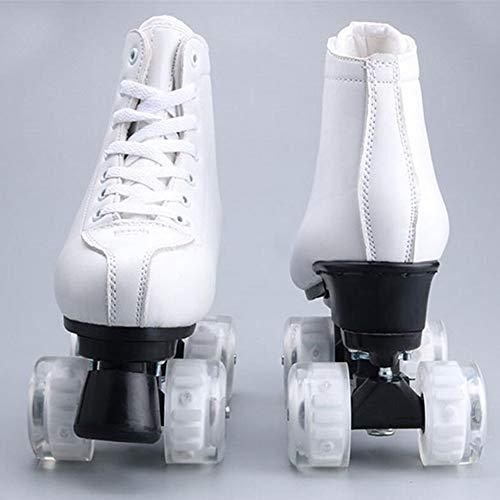 LOISK Zweireihige Schlittschuhe Mit 4 Rädern Erwachsene Rollschuhe Muster Männer und Frauen Rollschuhe, Klassische weiße für drinnen und draußen,XL