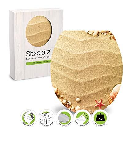 SITZPLATZ® WC-Sitz mit Absenkautomatik, Maritim Dekor Muschelsucher, High Gloss Toilettensitz mit Holz-Kern & Schnellbefestigung, Standard O Form, Metallscharniere, Toilettendeckel glänzend, 40215 6
