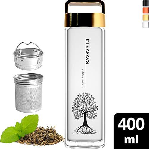 amapodo Teeflasche mit Sieb to go Wasserflasche Glas 400ml doppelwandig Deckel Gold
