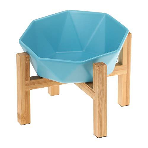 ブルーボウルとスタンド付き傾斜がある 15度 ペット ボウル 台 フードボウル 犬 猫食器 陶器 大容量 ウォーター ボウル 犬猫用 餌入れ 水入れ 水飲みボウル 木製 ペット皿 滑り止め 安定感 取り外し可能 手入れ簡単 ペット用品