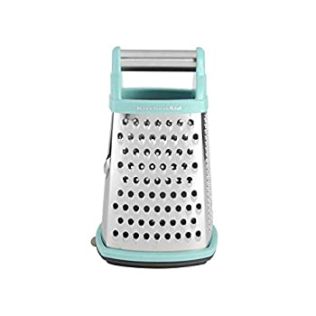 KitchenAid Gourmet 4-Sided Stainless Steel Box Grater with Detachable Storage Container 10 inches tall Aqua