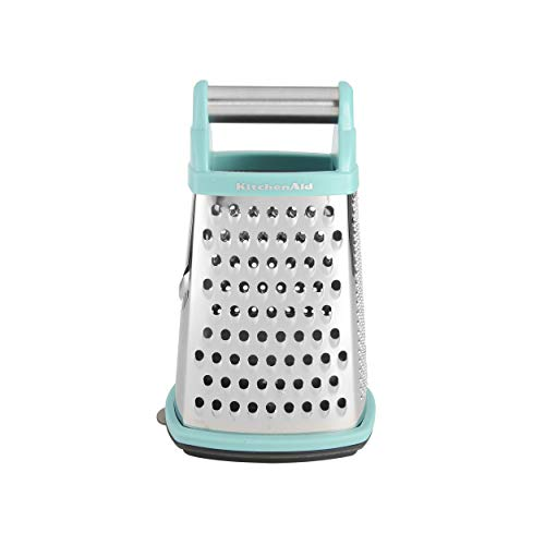 KitchenAid Gourmet 4-Sided Stainless Steel Box Grater with Detachable Storage Container, Small, Aqua
