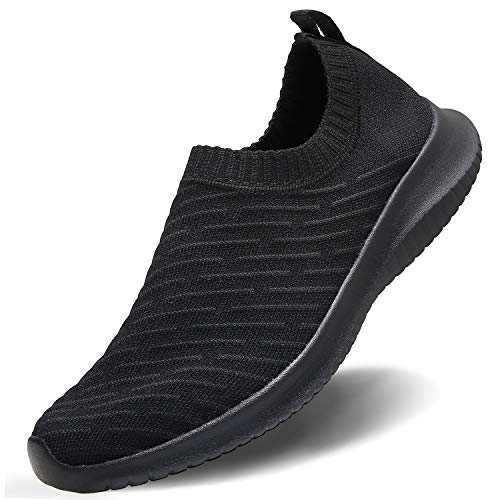 MATRIP Walking Shoes for Women Black Slip on Sneakers Breathable-Non Slip Shoes for Women-Knit mesh Ladies Gym Running Workout Shoes Casual,Size 8.5