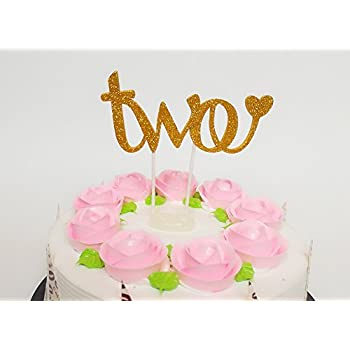 Sweet Heart 2nd Birthday Cake Topper Decoration Two For Baby Boy Girl Golden Amazon Co Uk Toys Games