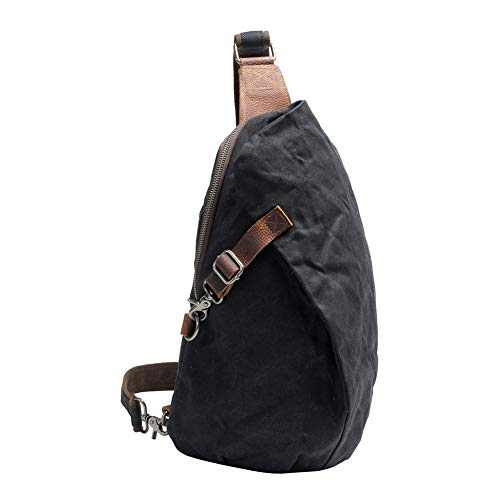 VRIKOO Waterproof Shoulder Sling Backpack Waxed Canvas Chest Crossbody Bag Small Rucksack for School Travel Cycling Hiking