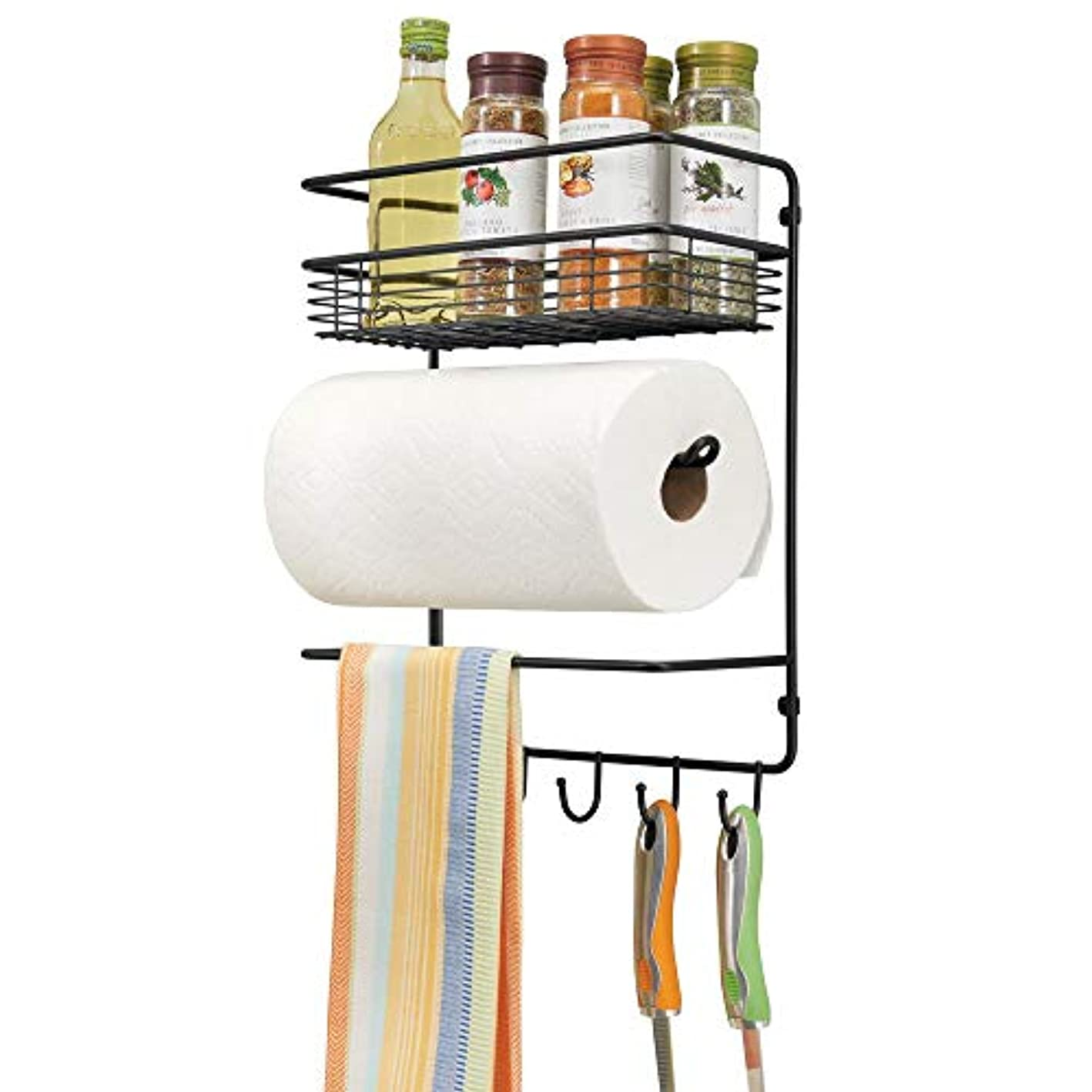 mDesign Metal Wall Mount Paper Towel Holder with Storage Shelf and Hooks for Kitchen, Pantry, Laundry, Garage Organization - Holds Spices, Seasonings, Pot Holders, Cookware - Black