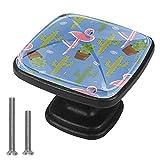 Perillas de gabinete de 4 piezas Perillas de tocador Perillas de cajón de cocinaPatrón de planta flamenco Mango de cristal