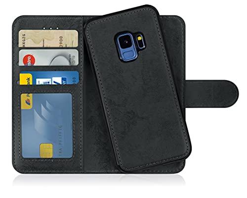 MyGadget Flip Hülle Handyhülle für Samsung Galaxy S9 - Magnetische Hülle aus Kunstleder Klapphülle - Kartenfach Schutzhülle Wallet - Schwarz
