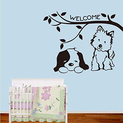 Kat en hond welkom vinyl muurstickers achtergrond muur kunstenaar decoratie behang woonkamer deur glazen huis decoratie 38x50cm