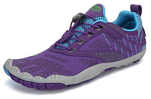 SAGUARO Mujer Barefoot Zapatillas de Trail Running Escarpines de Deportes Acuaticos Transpirable Calzado Minimalista para Fitness Entrenamiento Gimnasio, Morado 37 EU