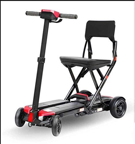 Vehículo eléctrico compacto plegable de cuatro ruedas para adultos, 24 V, 120 W, 6,6 Ah, 6 km/H, rango de crucero de 20 km, peso de carga de 125 kg, color rojo