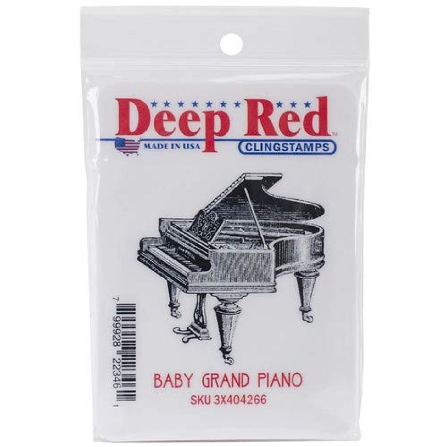 Deep Red Stamps Piano, Baby Grand Rubber Stamp