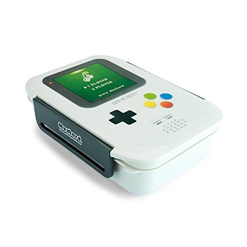 MUSTARD Bento Box I Lunch Box I Boîte à déjeuner avec 3 compartiments en forme d'amplificateur I Boîte de conservation alimentaire - Game Boy Gris