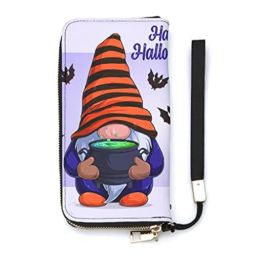 Ktewqmp Cartera de piel sintética con bolsillo para teléfono móvil y cremallera, diseño de Halloween, Blanco, Einheitsgröße