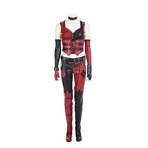 YUW Knight Harley Quinn Kostuum Kostuum Bodysuit Sling Vest, Broek, Handschoenen, Polsbanden, Nekband, Riem Batman Halloween Movie Game Cosplay Party Kostuum