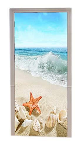 A.Monamour Türtapeten Selbstklebend 3D Muscheln Seesterne Am Sandstrand Blau Spritzende Meereswellen Sommer Tropische Landschaft Türtapete Türposter Tapete 77x200cm