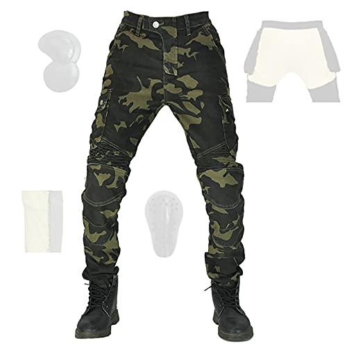 CYLZRCl Montar Jeans Pantalones Moto para Hombre Motocross Actualizar Pantalones Impermeables para Montar Motocicleta con Rodilleras CE Armor (Color : Camouflage, Tamaño : L)