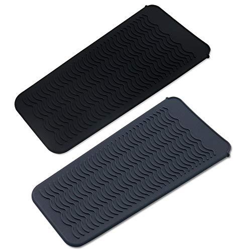 Paquete de 2 bolsas de silicona resistente al calor, alfombrilla de calor portátil, cubierta de almohadilla de rizador, plancha de pelo, bolsa de viaje, para plancha plana, varita rizadora